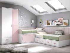 Habitación juvenil en blanco, rosa y tierra con tirador Box