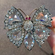 Rose cut diamonds work so beautifully here to create a light and airy feel to this gorgeous late Victorian butterfly brooch. Up for auction at Bonhams Knightsbridge on Wednesday.