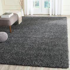 Willa Arlo Interiors Maya Flokati Dark Grey Area Rug Rug Size: Rectangle x Grey Shag Rug, Dark Grey Rug, Grey Rugs, White Rug, Dark Carpet, Shag Carpet, Beige Carpet, Brown Carpet, Red Carpet
