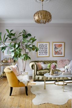 Eclectic Boho Glam living room in pink green and gold