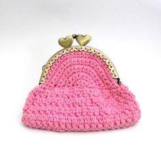 Patrón monedero rosa a crochet