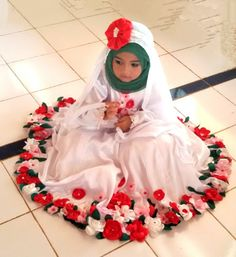 My Little Girl ~ Flower Hijab Dress with Satin Fabric Flower ~