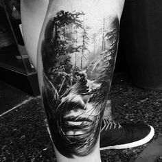 Clean look, tree shading Creepy Tattoos, Badass Tattoos, Leg Tattoos, Black Tattoos, Body Art Tattoos, Tattoos For Guys, Realistic Tattoo Sleeve, Leg Sleeve Tattoo, Calf Tattoo