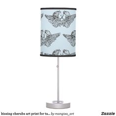 kissing cherubs art print for table lamp