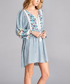 Love this Kokette Pale Blue Floral Print Bohemian Chic Dress by Kokette on #zulily! #zulilyfinds