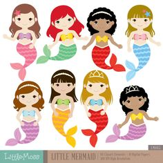 Little Mermaids Digital Clipart and Papers, Under the Sea Clipart Little Mermaid Parties, The Little Mermaid, Matilda, Under The Sea Clipart, Mermaid Clipart, Free Adult Coloring, Mermaid Room, Cute Mermaid, Summer Crafts For Kids