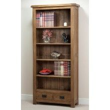 Original Rustic Solid Oak Large Bookcase