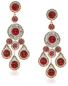 Miguel Ases Large Pyrite and Red Raised Multi-Swarovski Chandelier Drop Earrings – Jewelry from Selena
