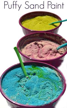 Kid Made Puffy Sand Paint- making the paint is so fun for kids and it is great for arts, crafts, and sensory play!