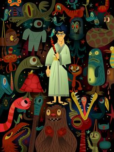 """Samurai Jack Monster Stack"" by Tim Biskup Virtu Exclusive - Canvas Edition of 100 $265; Paper Edition of 100 $165"
