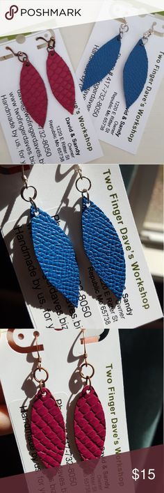 Set of 2 handmade leather earrings Leather earrings. Blue has silver french wire, Fuschia has copper french wire.  Very light weight! Brand new, never worn. Jewelry Earrings