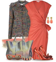 """Olive & Coral"" by yasminasdream ❤ liked on Polyvore"