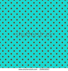 Chic classic polka dot pattern background, in trendy turquoise blue &  brown colours. It has an elegant, stylish appearance, with brown spots on a turquoise background. Seamlessly repeating.  Stock graphic by Tigerlynx, available for licensing from Shutterstock.