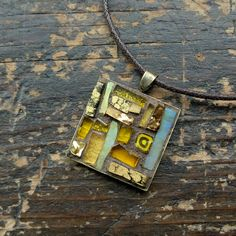 Mosaic Pendant in Yellow Ochre 1 inch  ©nutmegdesigns on Etsy