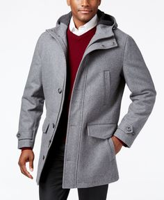 London Fog's duffle coat is insulated for a look that's not only stylish, but extremely snug, too. | Wool/polyester/nylon; upper body lining: polyetser/rayon/spandex; lower body, hood and sleeve linin