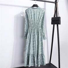 Summer Korean Chiffon Women Dress Elegant Ladies Vintage Long Dress Boho Floral Office Long Sleeve Vestidos Clothing Size S Color Vintage Long Dress, Vintage Dresses, Vintage Floral, Vintage Clothing, Chiffon Shirt Dress, Chiffon Dresses, Bodycon Dress, Sleeved Dress, Dresses Dresses
