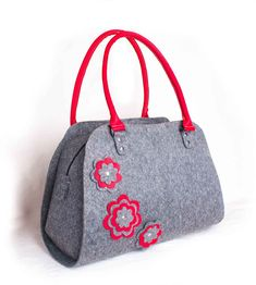 Felted Handbag Red purse Red flower bag Grey felt hobo  Shoulder bag Grey felt…