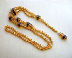 Amber Glass Flapper Necklace  Faceted by BohemianGypsyCaravan
