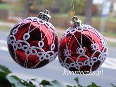 Tatting over Christmas ornaments