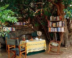 How lovely to sit here on a hot day, underneath the shade tree...with a book