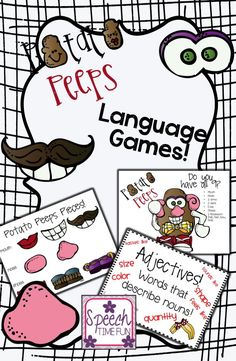 Speech Time Fun: Potato Peeps Language Games!! Work on synonyms, antonyms, multiple meaning words, adjectives, and WH questions!! 5 games in one!!
