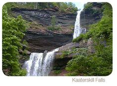 KAATERSKILL FALLS:  Swimming Holes In Hudson Valley by VISITvortex.com  A double drop waterfall near Hunter, these falls cascade 260 feet down two falls. Hike to the bottom, the mid point, or to the top for an amazing view. One of the most popular waterfalls in NY, you can find many little swimming holes at Kaaterskill Creek. Palenville, lat=42.17660, lon=-74.04739  http://www.visitvortex.com/magazine/Swimming-Holes-In-The-Hudson-Valley
