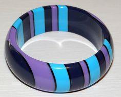 Mod Art Deco Chunky Injected Dot Lucite Vintage Bangle Bracelet Dark Purple Medium Purple Teal Blue Black Stripes