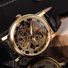 Leather Band Strap Wristwatches Brilliant Skeleton Dial Hand-winding Mechanical Sport Watch for Men Hollow Transparent Dial(China (Mainland))
