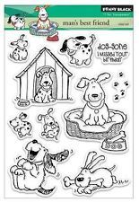 New Penny Black RUBBER STAMP Clear set MAN'S BEST FRIEND Free us ship dog