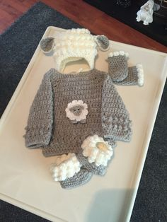 Crochet Newborn size Little Lamb set, lamb hat, jumper, booties & mitts
