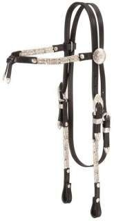 Western Show headstall Bridle Horse Tack Loaded with Silver Black