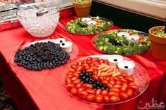 Elmo, Oscar and other Sesame Street favorites done in food for healthy first birthday party snacks