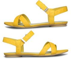 yellow leather sandals with detailing