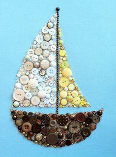 Button Art Sailboat Buttons and Swarovski Rhinestones Sail Boat Art Nautical Art  $104