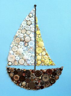 Button Art Sailboat Buttons and Swarovski Rhinestones Sail Boat Art Nautical Art  $104