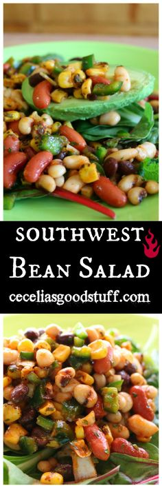 Delicious - Southwestern Bean Salad served with Avocado and mixed greens - HEALTHY SALADS - http://ceceliasgoodstuff.com/southwestern-bean-salad
