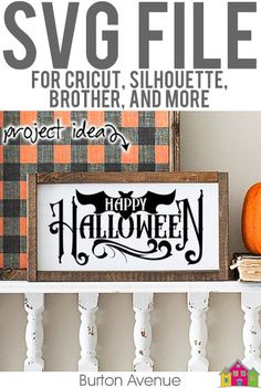 Happy Halloween with Bat SVG File - Burton Avenue