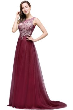 Babyonlinedress Babyonline Sleeveless VBack Tulle Lace Burgundy Formal Quinceanera Dresses2 >>> To view further for this item, visit the image link. (This is an affiliate link)