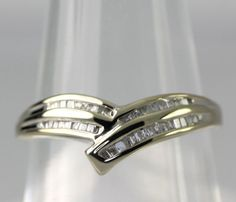 Baguette Cut Diamond 14k White Gold Chevron Ring .20 CT. T.W. Size 6.5 #Unbranded #Band