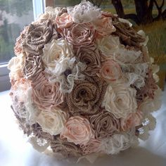 Handmade Couture Satin Burlap  And Lace Pastel by ToHoldAndToHave satin foes bouquet