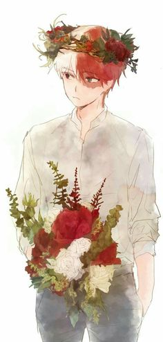 Todoroki Shouto, flowers, flower crown; My Hero Academia