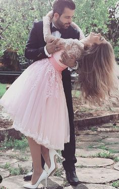 Long Sleeves V Neck Lace Tulle Cocktail Dress Pink Short Prom Dress #macloth #dress #gown #cocktaildress #prom #prom2017 #promdress #promgown #wedding #weddingpartydress #formaldress #foramlgown #cocktaildress