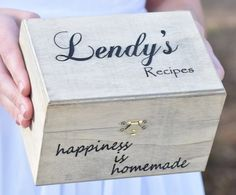 This listing features a beautiful and personalized wooden recipe box. Recipe box measures 6.75 x 4.5 x 4.25 with inside measurements of 6 x 4 x