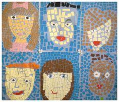 Mosaiikki-omakuva (4.-5.lk) 5th Grades, Art School, Arts And Crafts, Faces, Kids Rugs, Wall, Decor, Fifth Grade, Decoration