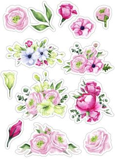 Tumblr Stickers, Free Stickers, Printable Stickers, Journal Stickers, Scrapbook Stickers, Planner Stickers, Decoupage Paper, Aesthetic Stickers, Watercolor Flowers