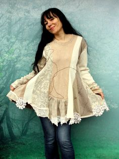 Romantic lace sweater tunic. Made from recycled sweaters and lace. remade, reused and upcycled. Soft and nice in touch. Streching. perfect with pants.