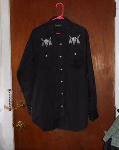 Mens High Noon Western Shirt Cow Skulls Pearl Snaps S Small High Noon fb85dc1cd