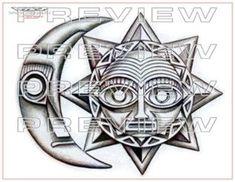 New Tattoo Moon Tribal Tatoo 18 Ideas Tribal Drawings, Aztec Tribal Tattoos, Aztec Tattoo Designs, Aztec Art, Tribal Henna, Tattoo Drawings, Arrow Tattoos, Wolf Tattoos, Feather Tattoos