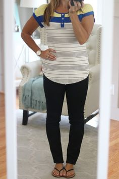My Birthday Fix!  Stitch Fix Reveal July 2016 Papermoon Liroy Button Placket Striped Casual Short Sleeve Knit Top with Liverpool Sienna Skinny jeans