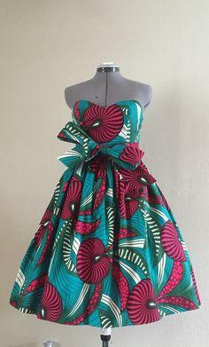 Robe en Wax africain imprimé réversible Sweetheart par WithFlare